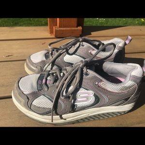 Skechers Women's Gray Pink Toning Fitness Sneakers